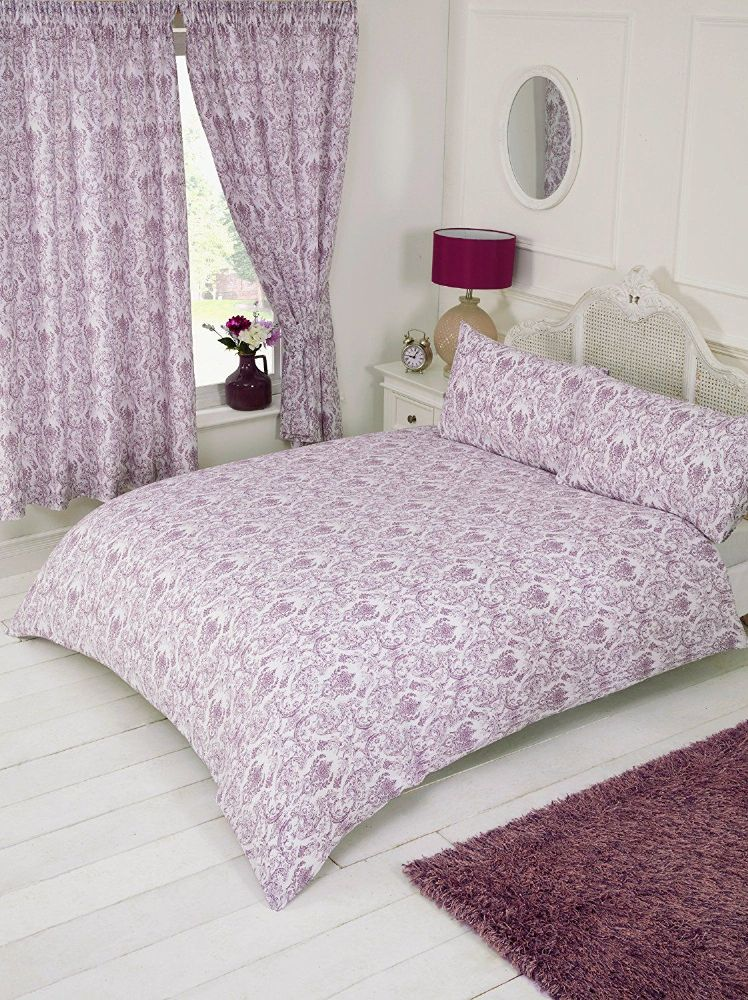 Plum Purple White Floral Paisley Damask Design Bedding